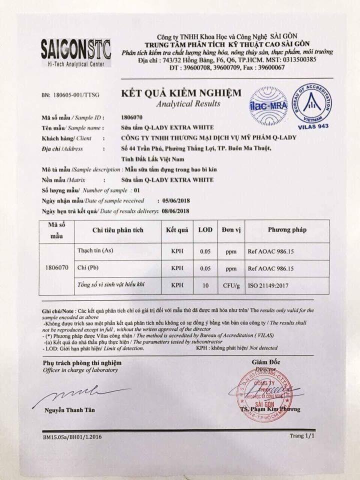 được cấp giấy chứng nhận kiểm nghiệm an toàn