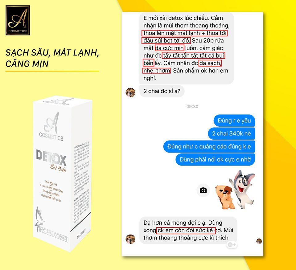 phản hồi của khách hàng sau khi sử dụng detox thải độc da