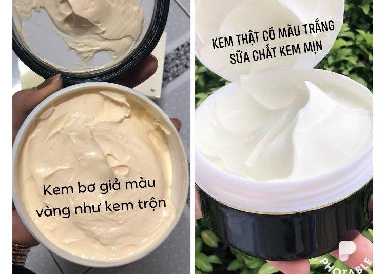 so sánh chất kem body bơ giả và thật