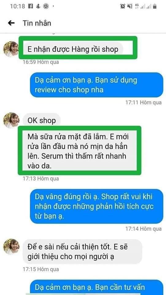 phản hồi của khách hàng sau khi sử dụng sản phẩm