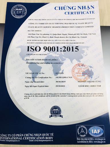Chứng nhận ISO 9001:2015 được cấp cho công ty VSAFE BEAUTY