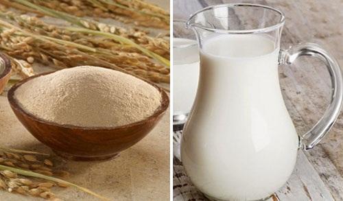 Cám gạo két hợp với sữa tươi
