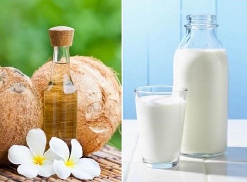 Sử dụng mặt nạ sữa tươi với dầu dừa