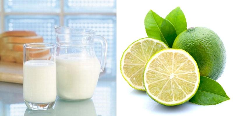 Mặt nạ sữa tươi kết hợp với chanh.