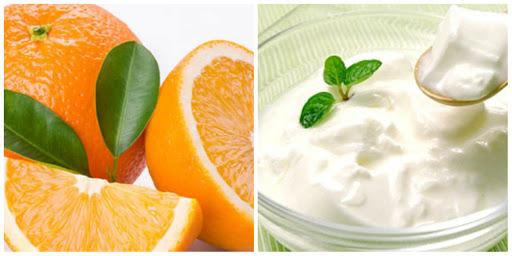 Làm trắng da tại nhà bằng sữa chua và nước cam