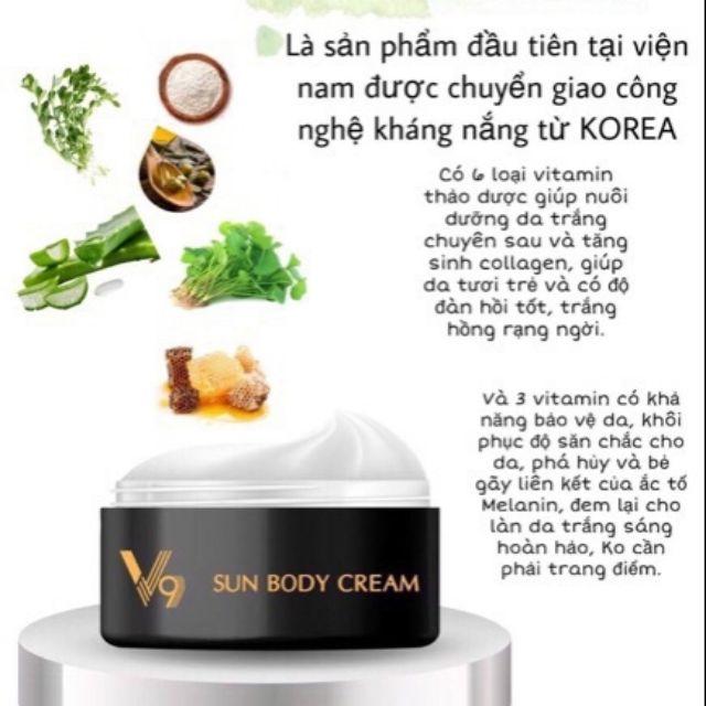 Thành phần chính của sản phẩm Kem Body V9