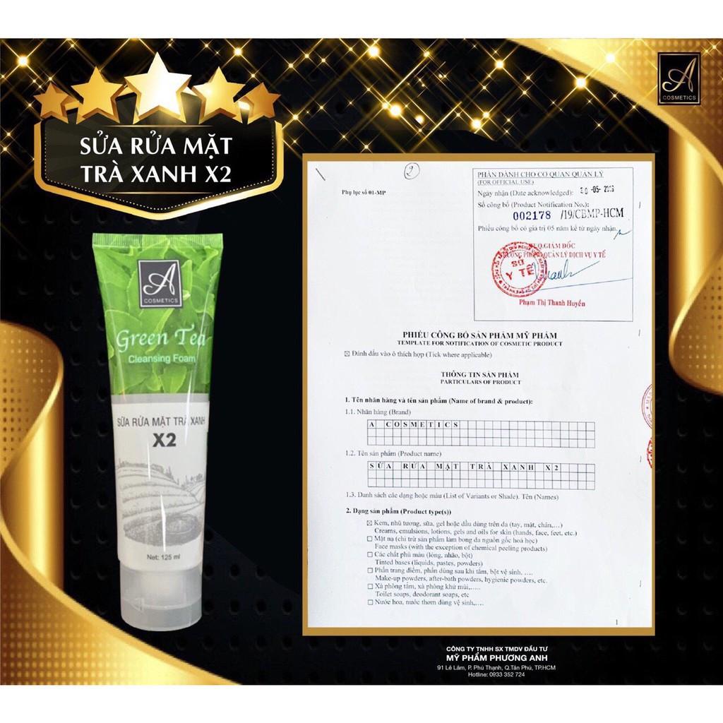 giấy kiểm nghiệm của Sữa Rửa Mặt Trà Xanh A Cosmetics