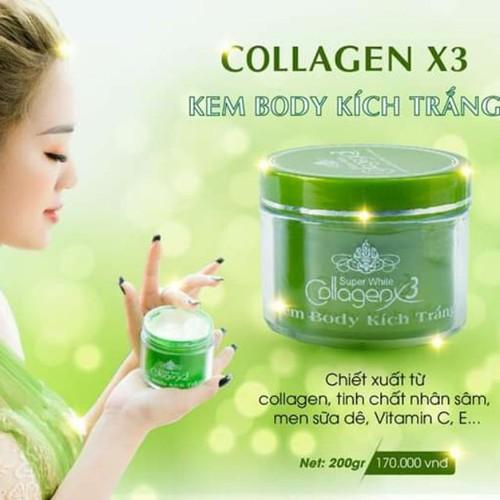Kem Body Kích Trắng Collagen X3 Xanh